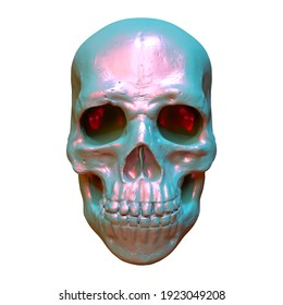 Iridescent scull different colors on white background. For print, paper, textile. 3d rendering.