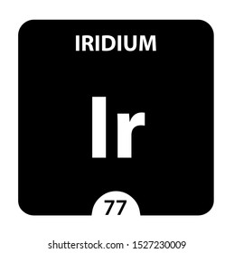 Iridium symbol. Sign Iridium with atomic number and atomic weight. Ir Chemical element of the periodic table on a glossy white background. Experiments in the laboratory. science ant technology concept