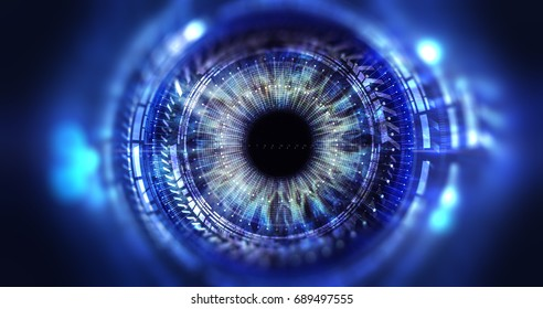 Iris scanning system interface, user's identification system, access control. Interface with lines and dots on a blue background, the front elements are blurred. 3D render/Secure access technology