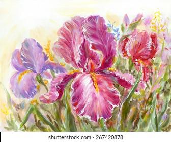 Irises flowers on a meadow. Original oil painting illustration
