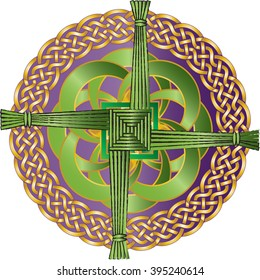 Irish celtic knot ornament with the cross of St Brigid, believed to protect against evil and fire. Color illustration.
