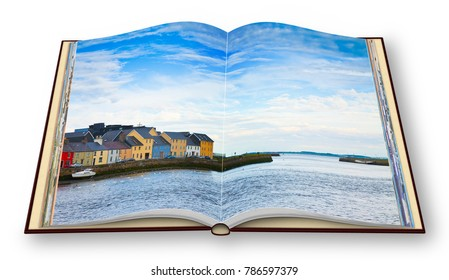 Irish coastal landscape with the typical colored fishermen's houses with sloping roofs (Galway - Ireland) - 3D render concept image of an opened photo book isolated on white