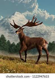 An Irish Elk, a breed of extinct pleistocene deer, stands in tall grass in a valley lined with tall snow covered mountains.  The scientific name for it is megaloceros. 3D Rendering