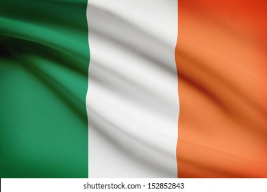 Irish flag blowing in the wind. Part of a series.