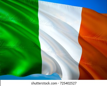 Irish flag. Ireland flag waving in the wind 3D rendering. Ireland referendum and independence concept. Waving sign background wallpaper. 3D pattern background download HD wallpaper graphics