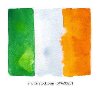 Irish flag painted with watercolors on white background