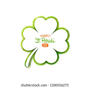 Irish holiday Saint Patrick's Day. White quatrefoil clover on green waterolor background. illustration with four-leaf clover for greeting card, poster, celebration banner