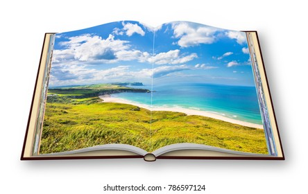Irish landscape in northern Ireland (County Antrim - United Kingdom) - 3D render concept image of an opened photo book isolated on white