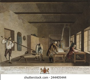 Irish Linen manufacture, 1782. A lapping room where the linen was prepared for shipping to market. Men are measuring, folding and tieing into bolts of fabric. Engraving by William Hincks 1782.
