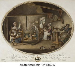 Irish Linen manufacture, 1782. Workshop in a dwelling where four women are using time traditional methods of spinning, reeling, and boiling yarn.