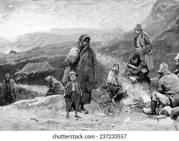 Irish peasants starving during the Potato Famine (1845- 1849), 1846.