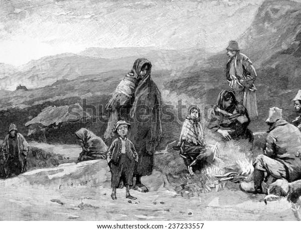 Irish peasants starving during the Potato Famine (1845- 1849), 1846.