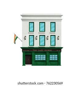 Irish pub building. 3d illustration
