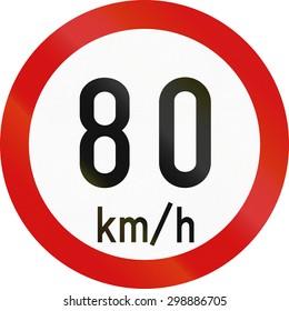 Irish traffic sign restricting speed to 80 kilometers per hour.