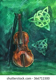 Irish violin (fiddle) with fiddlestick, orange brown on green and emerald watercolor background with traditional celtic ornament. Handwork watercolor painting for posters, postcards, and invitations.