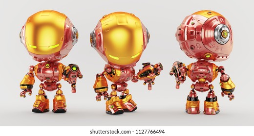 Iron bot toy character in three poses, 3d illustration