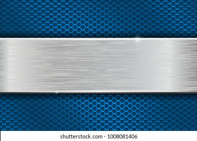 Iron brushed metal texture on blue perforated background. 3d illustration. Raster version