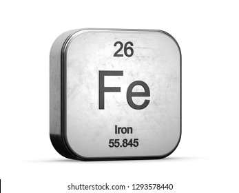 Iron element from the periodic table series icons. Metallic icon 3D rendered on white background