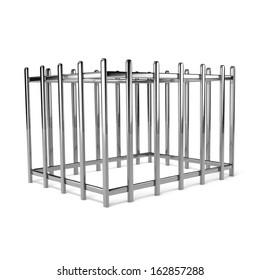 Iron Empty Cage on White Background 3D Illustration