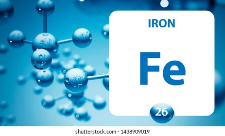 Iron Fe, chemical element sign. 3D rendering isolated on white background. Iron chemical 26 element for science experiments in classroom science camp
