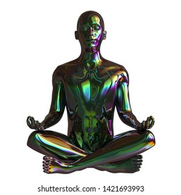 Iron human mental guru zen character. Figure stylized man lotus pose black polished colorful reflections. Peaceful nirvana yoga position symbol. 3d illustration, isolated