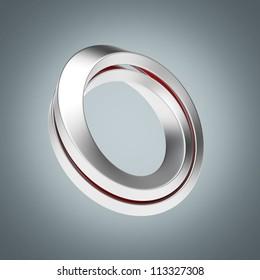 Iron infinity symbol on a white background