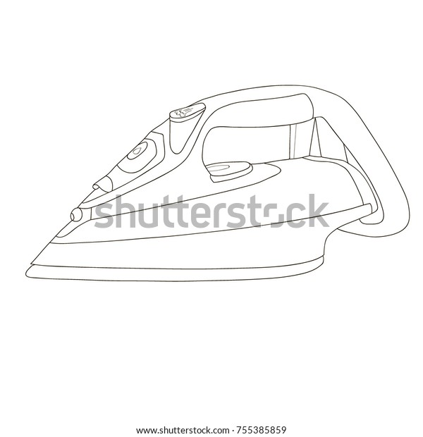 Iron Ironing Steam Coloring Page Coloring Stock Illustration 755385859
