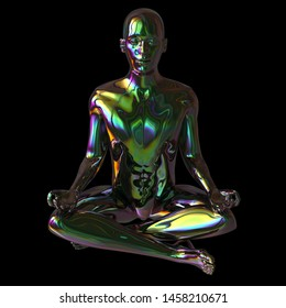 Iron man portrait yoga lotus pose figure stylized green polished colorful reflections character. Human person meditate calm nirvana zen-like icon concept. 3d rendering
