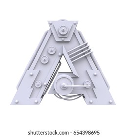 Iron mechanical letter A isolated on white background. Futuristic industrial metal alphabet in sci fi or steampunk style. Realistic 3d render.
