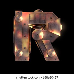 Iron mechanical old rust hot metal letter R isolated on black background. Futuristic industrial alphabet in sci fi or steampunk style. Realistic 3d render.