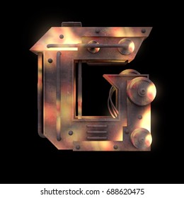Iron mechanical old rust hot metal letter G isolated on black background. Futuristic industrial alphabet in sci fi or steampunk style. Realistic 3d render.