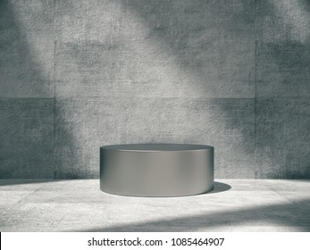 Iron pedestal for display,Platform for design,Blank product stand with empty concrete room.3D rendering.