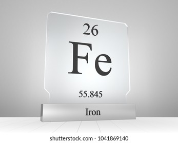 Iron symbol on modern glass and metal icon 3D render