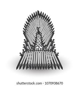 Iron throne for computer games design. Raster illustration