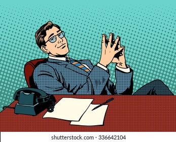 Ironic businessman boss. Business concept professional at work retro style pop art