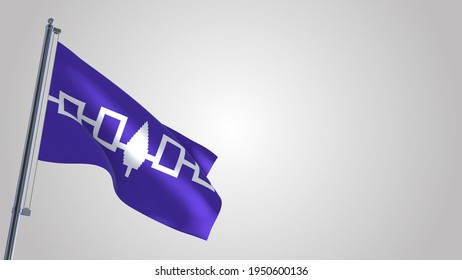 Iroquois Confederacy 3D waving flag illustration on a realistic metal flagpole. Isolated on white background with space on the right side.