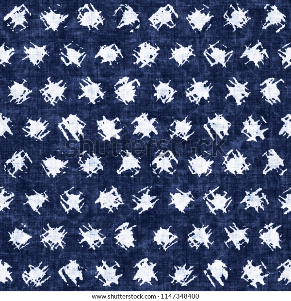 Irregular Dotted Textured Background Dyed In Mottled Shades Of Indigo And White. Seamless Pattern.