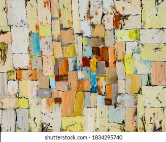 An irregular grid painting with rough brushwork and bright colour. The overall effect is appealing and informal.