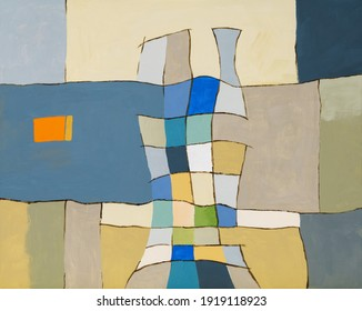 An irregular grid painting, roughly executed in mainly pastel colors.