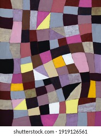 An irregular grid painting, with violets and yellows predominant.
