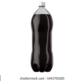 An irregular shaped plastic two liter cola soda bottle on an isolated white studio background - 3D render