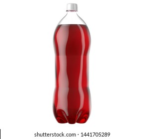 An irregular shaped plastic two liter red soda bottle on an isolated white studio background - 3D render