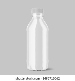 An irregular shaped plastic two liter  bottle with condensation droplets on an isolated white studio background - 3D render