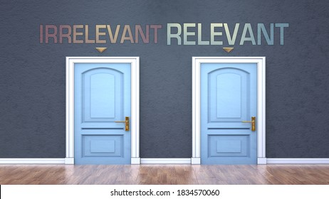 Irrelevant and relevant as a choice - pictured as words Irrelevant, relevant on doors to show that Irrelevant and relevant are opposite options while making decision, 3d illustration