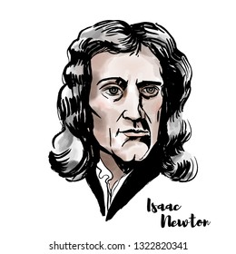 Isaac Newton watercolor portrait with ink contours. English mathematician, astronomer, theologian, author and physicist.