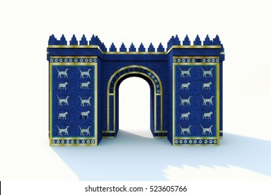 Ishtar Gate of Iraq isolated on white background 3d rendered