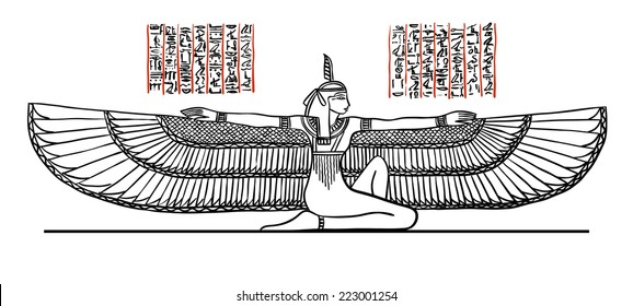 Isis Goddess of health, marriage, and love. Isis depicted with outstratched wings. Illustration black line isolated on white.