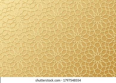 Islam pattern. Gold ottoman background. Golden Islamic design. Arabesque texture. Arabic geometric motif. Islam star. Traditional Muslim style. East symbol. Moroccan ornate. Arabian. Morocco