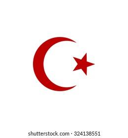 Islam symbol. Red flat icon. Illustration symbol on white background