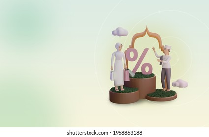 Islamic 3d Character Illustration with Arabic Decoration